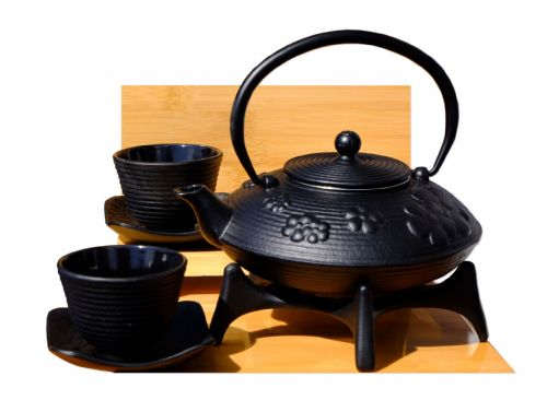 Cast Iron Black Flower Teapot  Star trivet Zen SQ cups  X2